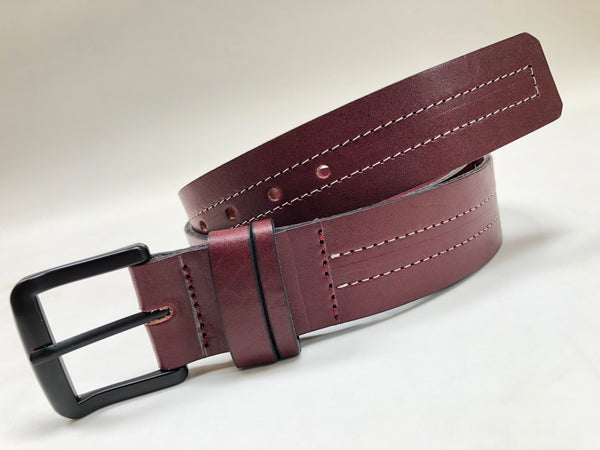 Men's Burgundy Leather Belt with White Stitching B1654