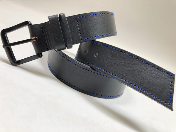 Men's Black Leather Belt with Blue Stitching B1554