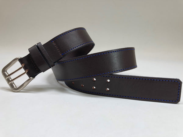 Men's Dark Brown Leather Belt with Blue Stitching B1754