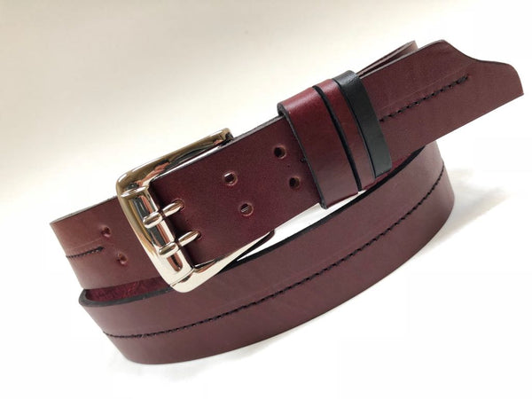 Men's Burgundy Leather Belt with Silver Tone Buckle 38A14