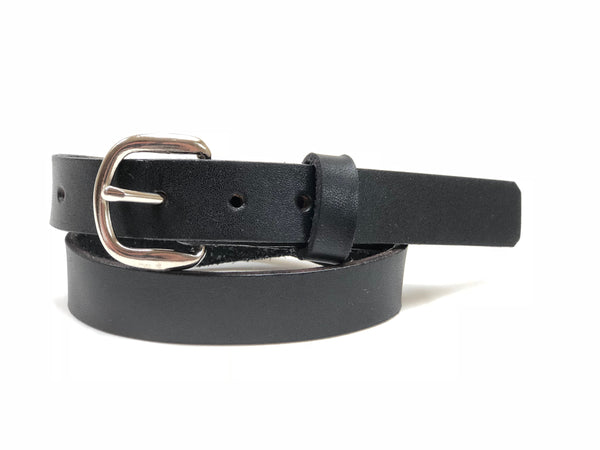 Kids' Black Leather Belt with Smooth Silver Tone Buckle 20Z1