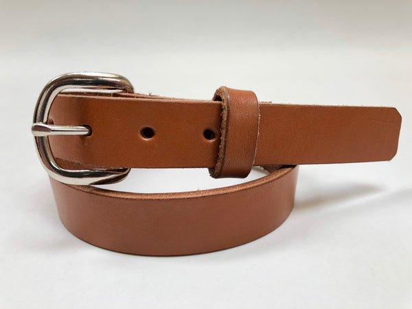 Kids' Tan Leather Belt with Smooth Silver Tone Buckle 22Z2