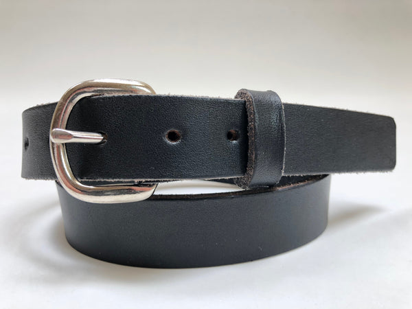 Kids' Black Leather Belt with Smooth Silver Tone Buckle 24Z5