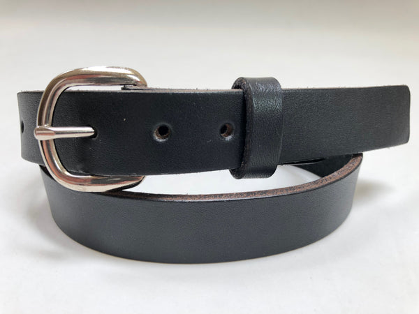 Kids' Black Leather Belt with Smooth Silver Tone Buckle