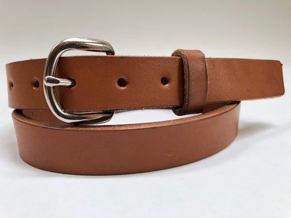 Kids' Tan Leather Belt with Smooth Silver Tone Buckle