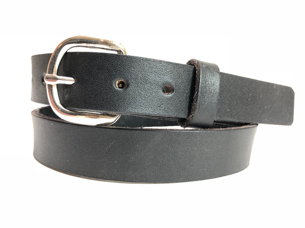 Kids'Black Leather Belt with Smooth Silver Tone Buckle 26Z9