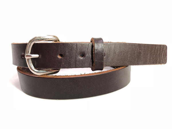 Kids' Dark Brown Leather Belt with Smooth  Silver Tone Buckle 30Z12