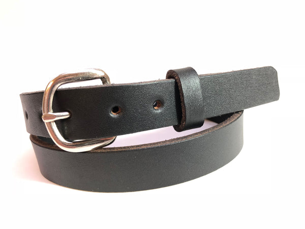 Kids' Black Leather Belt with Smooth Silver Tone Buckle 27Z11