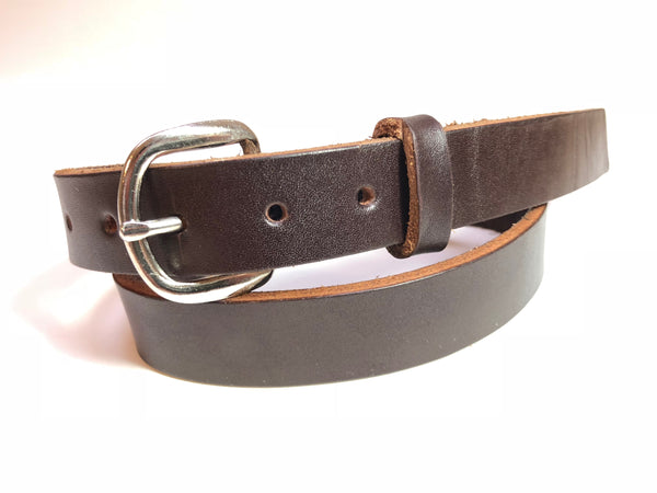 Kids' Dark Brown Leather Belt with Smooth Silver Tone Buckle