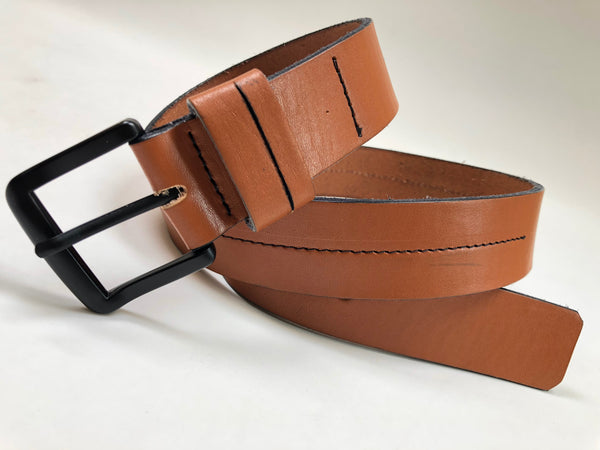 Men's tan leather belt with black stitching SKU#36C2
