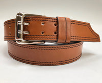 Men's Double Prong Tan Leather Belt with Black Stitching 36C3