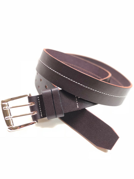 Men's Dark Brown Leather Belt with White Stitching 38C7