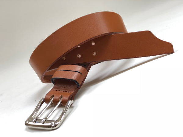 Men's Light Tan Leather Belt Smooth 40C1