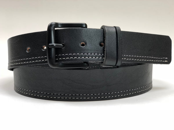 Men's Black Leather Belt with White Stitching