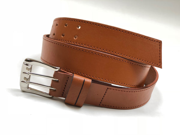Men's light tan leather belt with tan stitching SKU#42C1