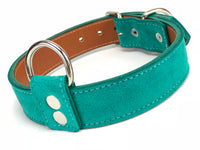 Dark Turquoise Suede Dog Collar DC104