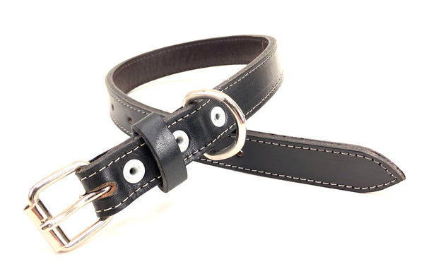 Smooth Black Leather Buddy Dog Collar with White Stitching SKU#BC55