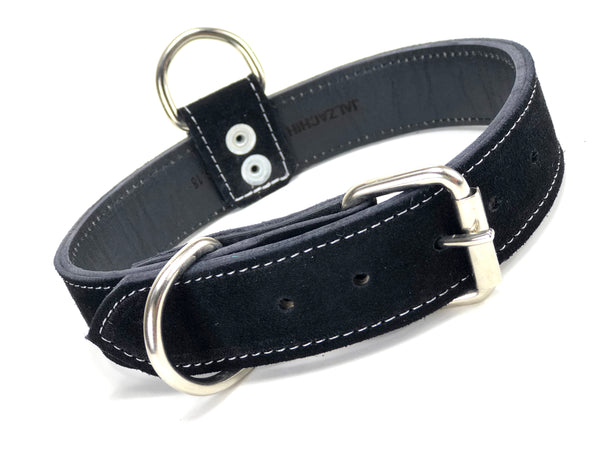 Black Suede Dog Collar DC62
