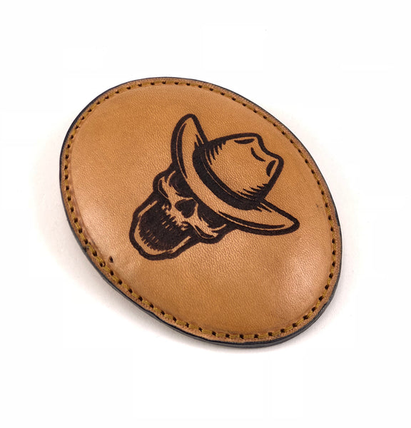 Skull Head With Hat Leather Buckle