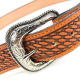 Men's Tan Leather Basket Weave Belt with Silver Tone Buckle 38A13