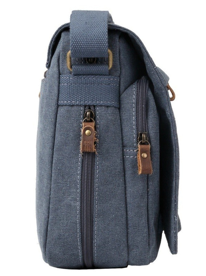 TROOP London - Classic  Small Flap Front Messenger - Blue