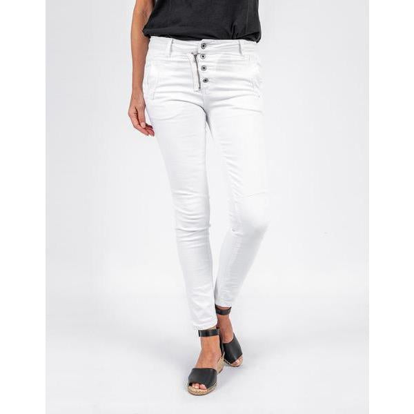 ITALIAN STAR - Button Jeans White