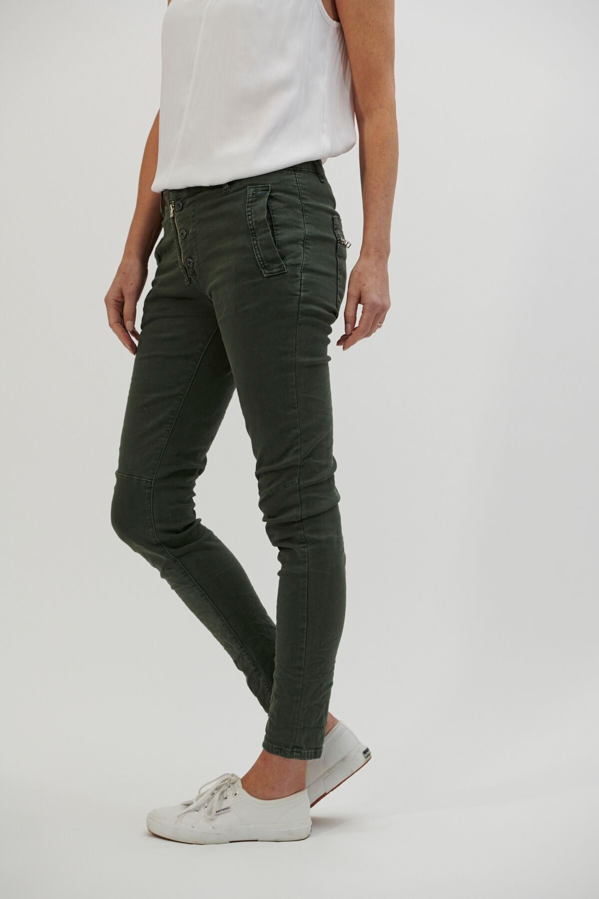 ITALIAN STAR - Button Jeans Military