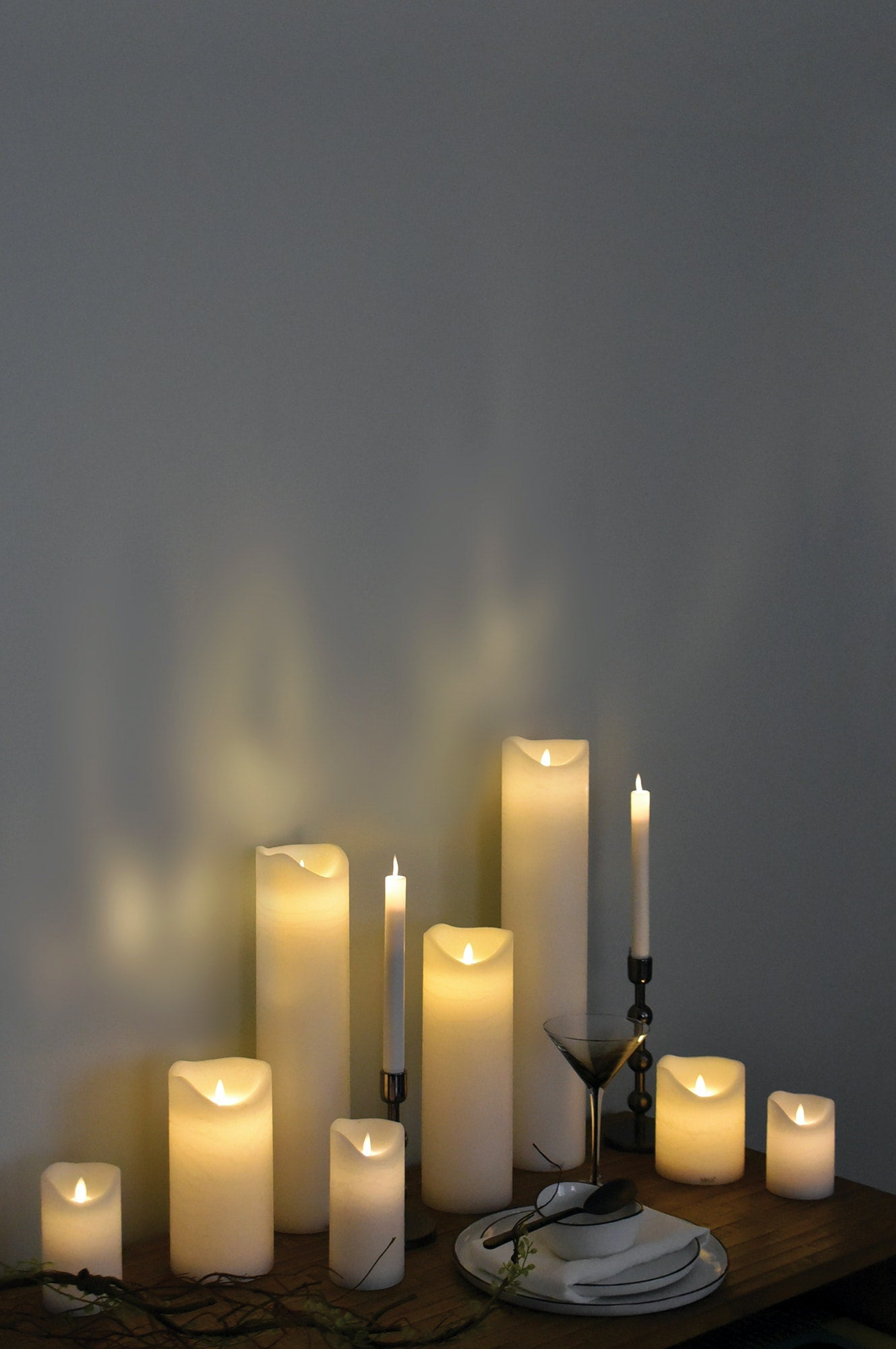 SIRIUS - Sara Excl S/3 White Led Wax Candles