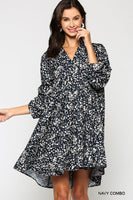 Ditsy Print V-neck Dress