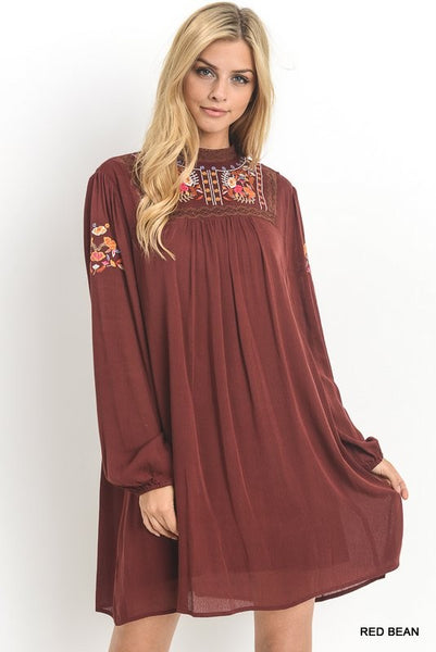 Mock-neck Dress with Embroidered Yoke and Bubble Sleeve