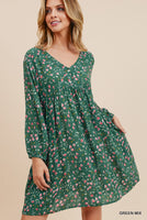 Floral Print Loose Baby Doll Dress