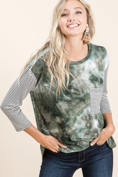 Tie Dye with Stripe Pocket and Sleeves