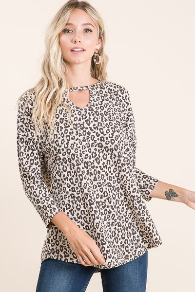 Animal Print Top with V neck choker