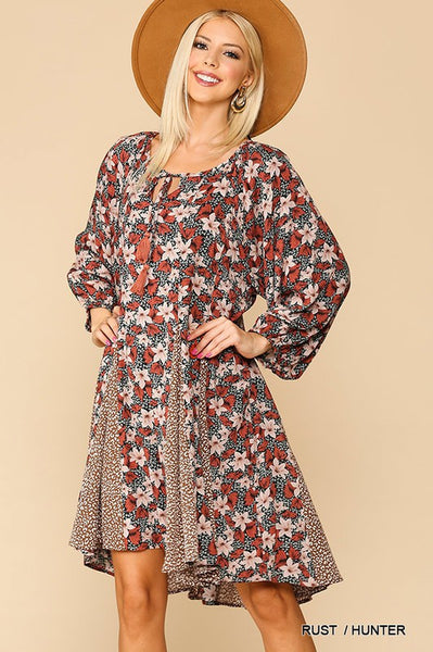 Floral and Animal Print Peasant Dress
