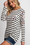 Stripe Animal Print Top