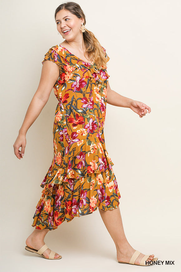 Tropical Print High Low Midi
