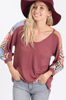 Waffle Contrast Top