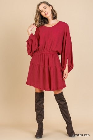 Linen Blend Long Puff Sleeve Cinched Waist Ruffle Hem Dress