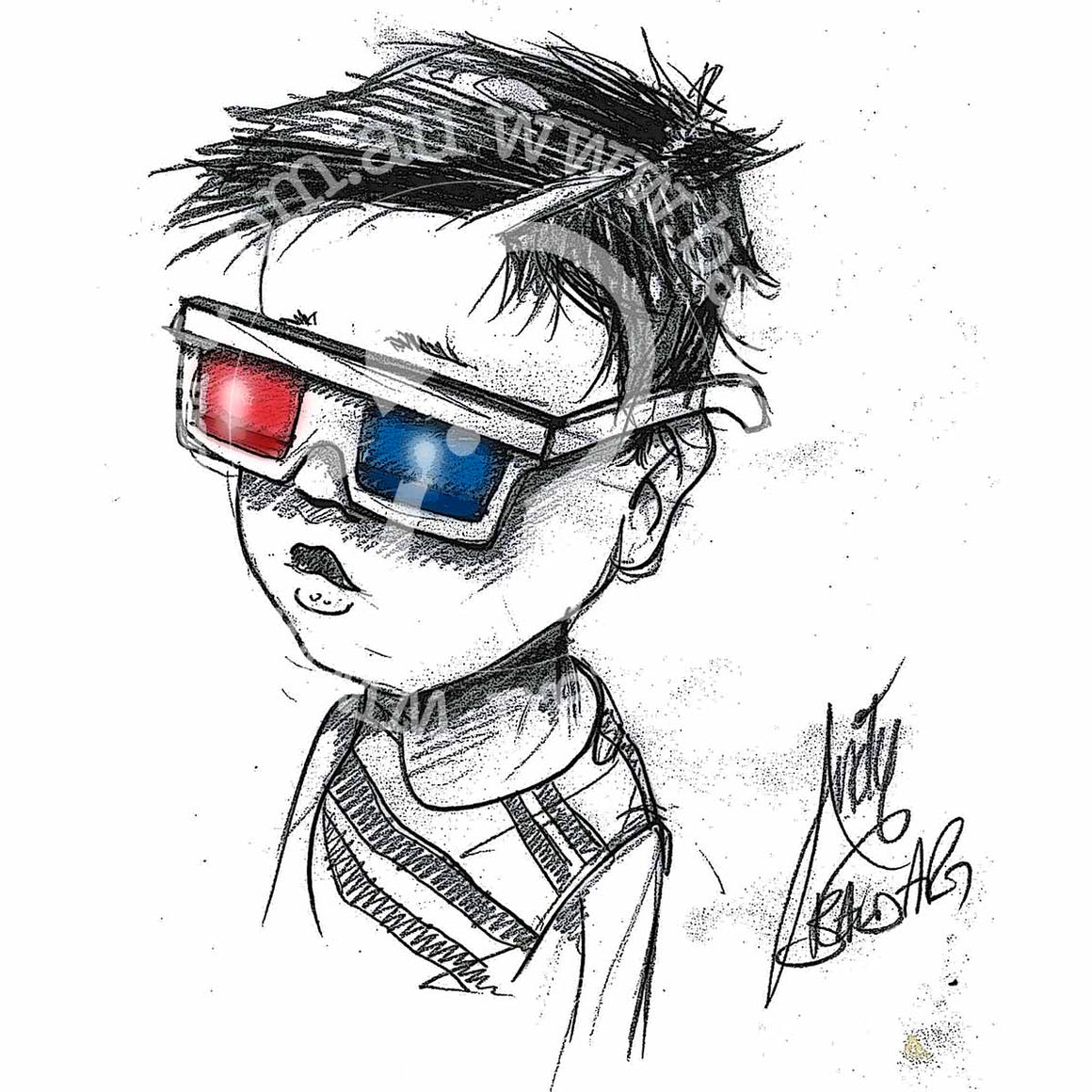 sketch style artwork dan in his 3D glasses by andy baker of bald art
