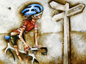 cycling artwork canvas print by andy baker of the bald art company