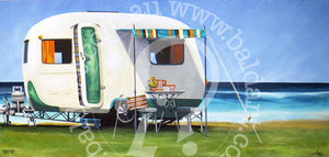 beach surf caravan artwork by andy baker of bald art