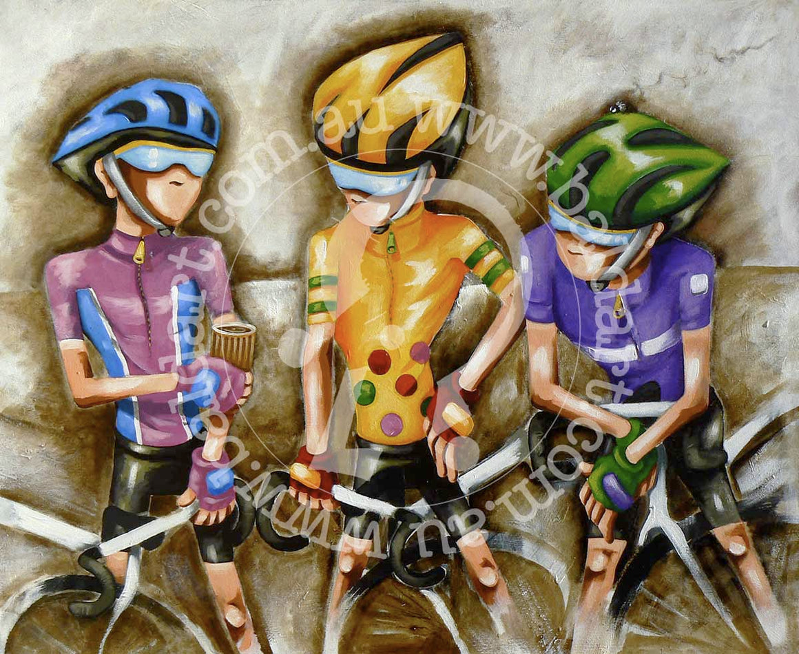 cycling artwork canvas print by andy baker of bald art