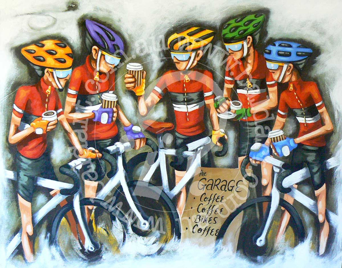 cycling artwork by andy baker of bald art