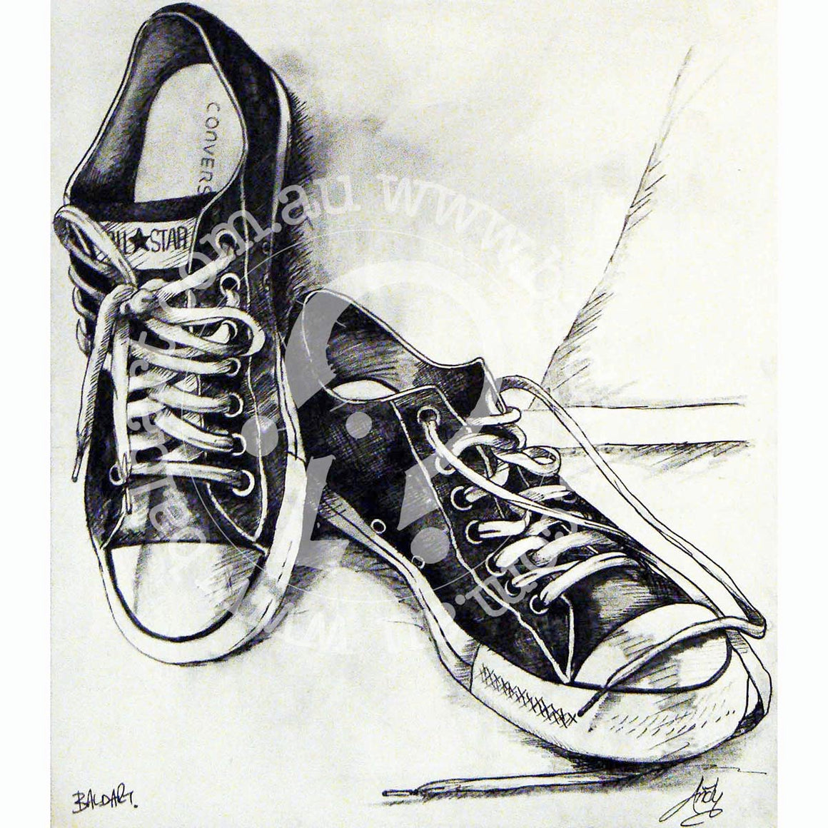 converse all stars artwork by andy baker of bald art