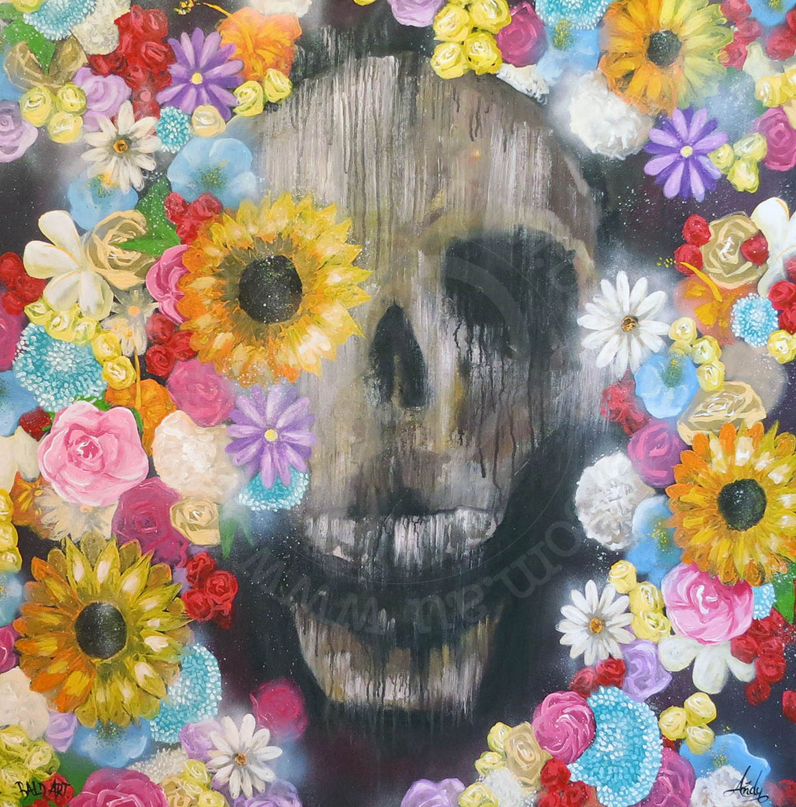 contemporary skull art with flowers by andy baker of bald art