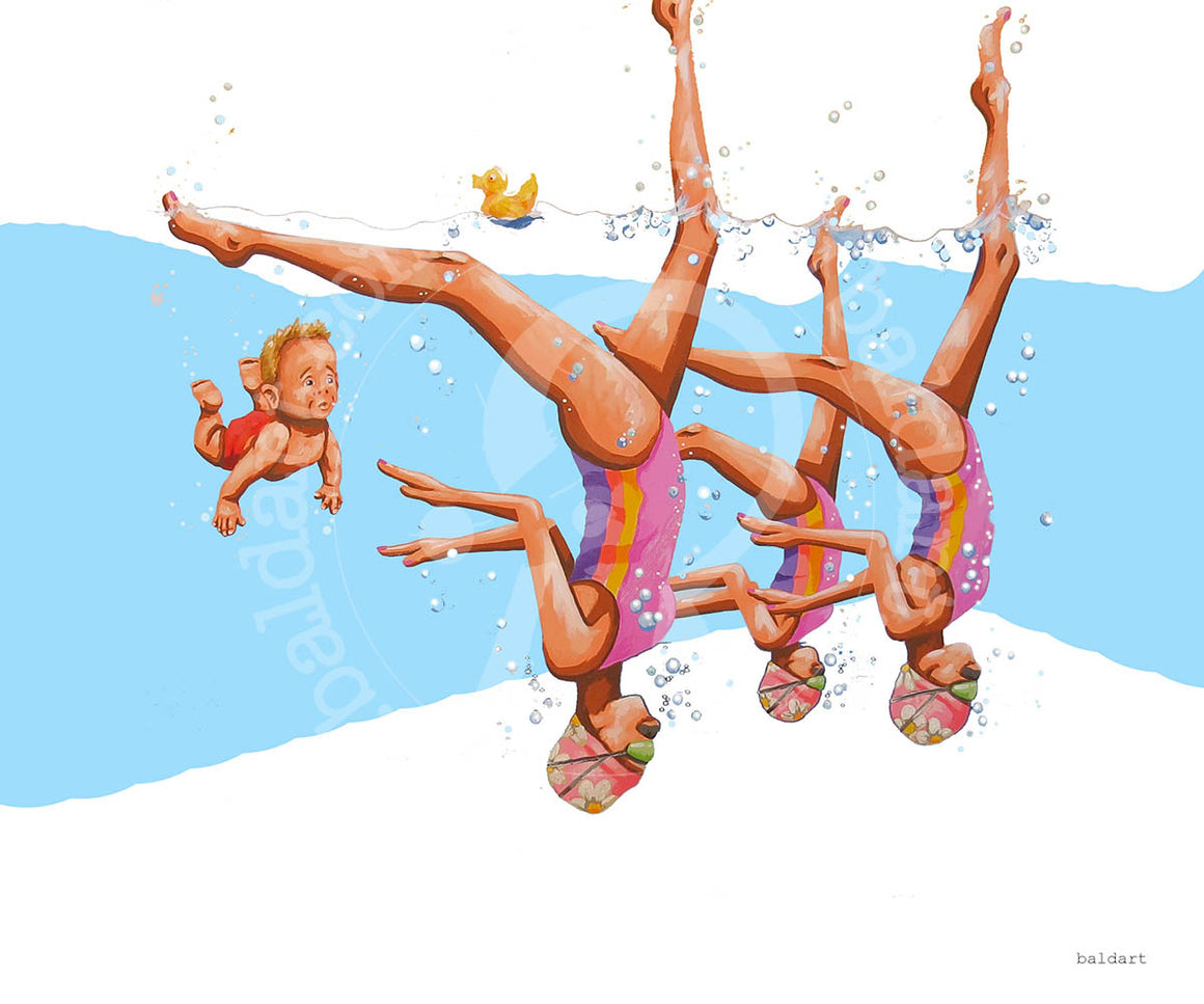 swim for your life pop art series artwork by andy baker of bald art
