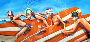 surf lifesaving artwork canvas wall art by andy baker of bald art