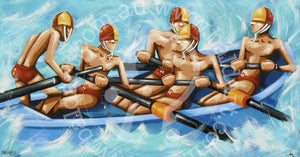 surf boat canvas wall art by andy baker of bald art