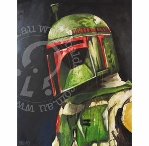 star wars boba fett artwork canvas print by andy baker of bald art