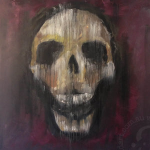 contemporary skull artwork limited edition canvas print by andy baker of bald art